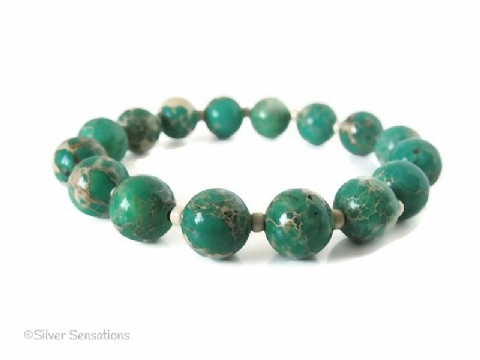 Emerald Green & Creamy Beige Sea Sediment Impression Jasper Stretch Bracelet